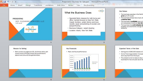 A screenshot of the selling presentation