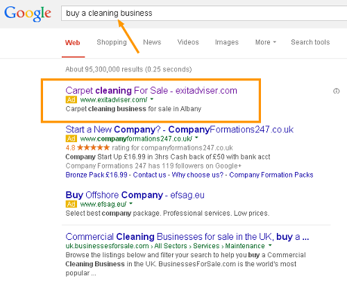 Custom business for sale advert on Google search pages
