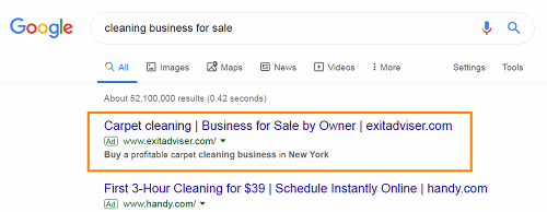A business-for-sale advert on Google