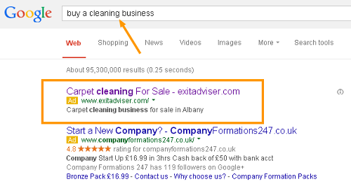 A custom business-for-sale sale advert on Google