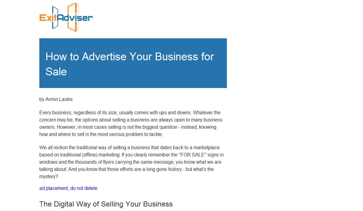 Advertising Your Business for Sale (2019)