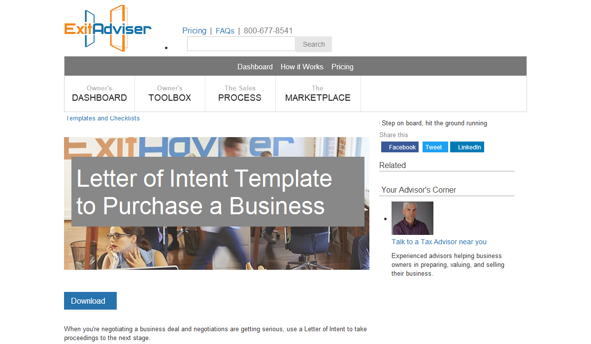 Letter of Intent Template to Purchase a Business